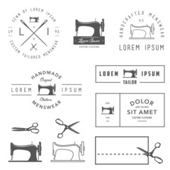 PrintSet of vintage tailor labels, badges and design elements