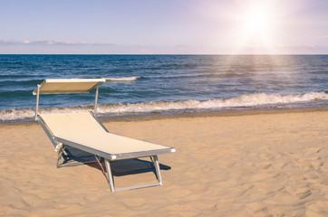 Sunbed at the beach - Rimini summer, Italy