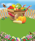 wheelbarrow with vegetables and fruits