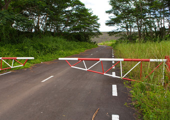 The road blocked by a gate