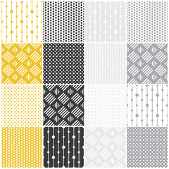 geometric seamless patterns: dots, squares