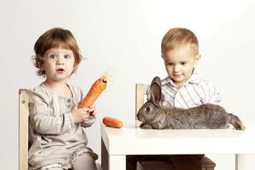 Small pretty girl feeding rabbit with carrot