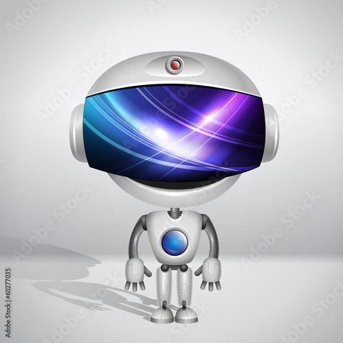 Vector robot. Screen indicator with abstract background