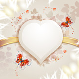 Background with heart and butterflies for Valentine's