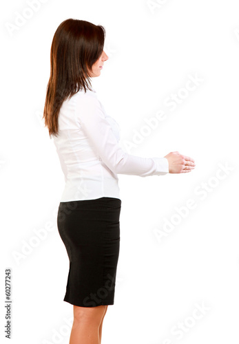 A smiling woman offering a handshake, isolated on white.