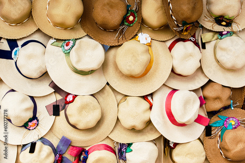 hanging beautiful straw hat