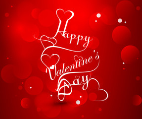 Happy Valentine's day card with lettering text beautiful vector