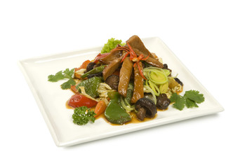 Shiitake mushrooms stewed meat with vegetables