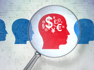 Business concept: Head With Money with optical glass on digital