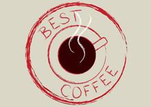 Affiche rétro avec tasse de café et le texte