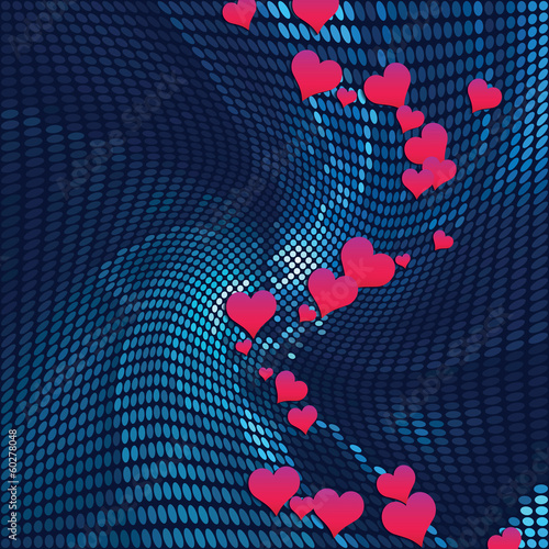 abstract mosaic background with heart deisgn