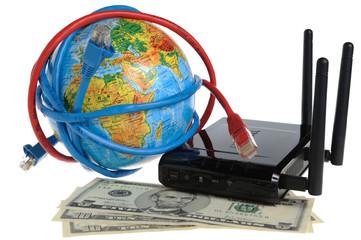 Глобус обмотанный проводами, маршрутизатор с долларами на белом