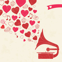 Happy valentines day card with gramophone, hearts and sweets