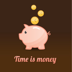 Piggy bank background, time is money