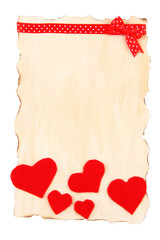 Beautiful sheet of paper with decorative hearts, isolated