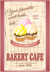 banner for bakery cafe with cupcakes
