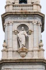 Statua di Cristo su campanile Santuario di Pompei