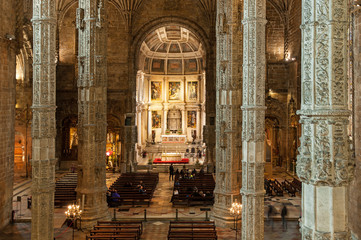 LISBON, PORTUGAL - JANUARY 3, 2014: The Hieronymites Monastery (