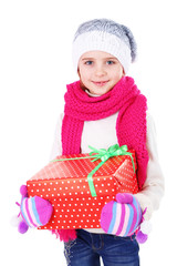 Beautiful little girl holding present box isolated on white