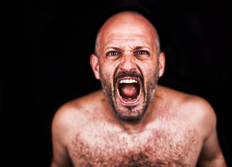 Crazy man screaming