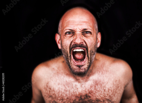 Crazy man screaming