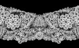 Seamless stripe - floral lace ornament - white on black backgrou