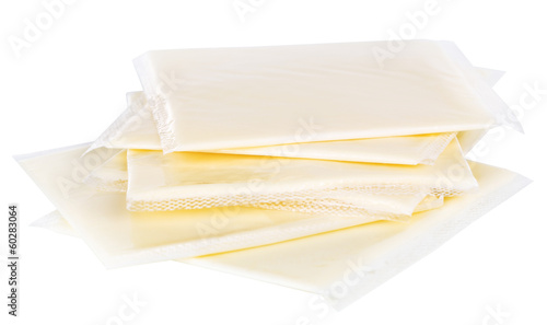 Cream cheese in packing isolated on white