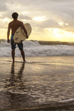 Male Surfer & Surfboard Sunset Sunrise Beach