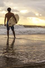 Male Surfer & Surfboard Sunset Sunrise Beach