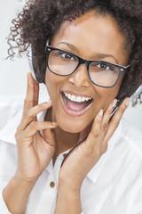 African American Girl Woman Listening to Headphones