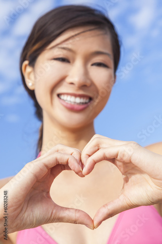 Chinese Asian Woman Girl Making Heart Hands Shape