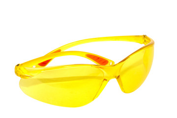 Pair Of Bright Yellow Plastic Protective Glasses