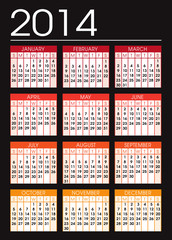 black and orange calendar 2014