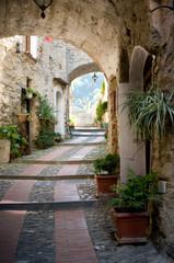 ancient stone street in Liguria, Italy
