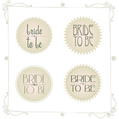wedding stickers in retro colors