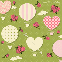 Hot Air Balloons and Hearts for Valentine's Day