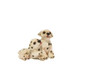 Two happy Dalmatian puppies