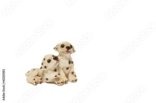 Two happy Dalmatian puppies