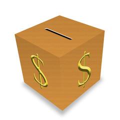 Salvadanaio cubo di legno