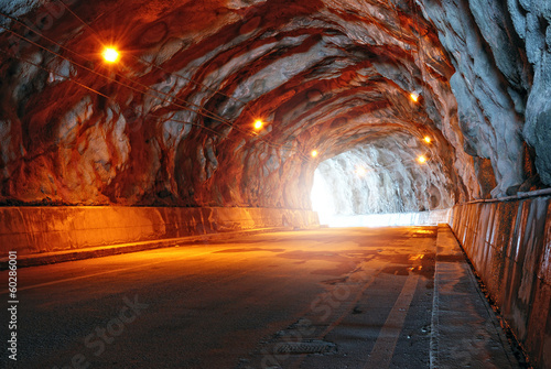 tunnel illuminated with electric light - 60286001