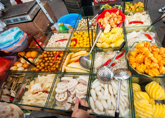 Chinese street fruit cart