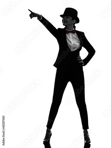 woman master of ceremonies presenter pointing  silhouette