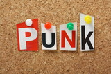 The word Punk on a cork notice board