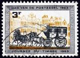 Postage stamp Belgium 1963 Stagecoach poster