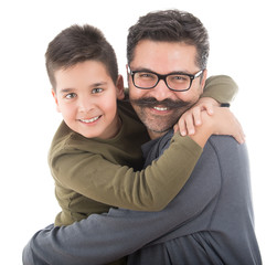 Portrait of happy father and son isolated on white background