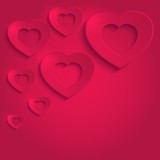 heart happy valentine paper 3D red