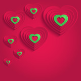 heart happy valentine day paper 3D red green vector