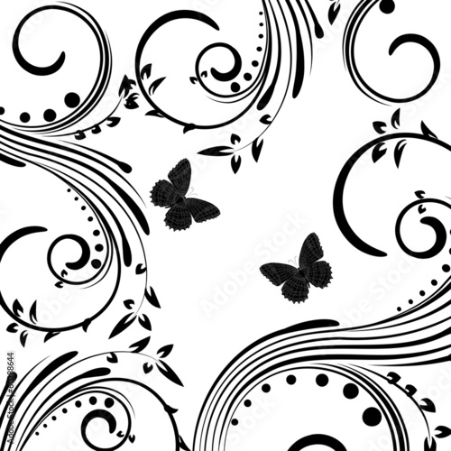 Background with butterfly on a white background