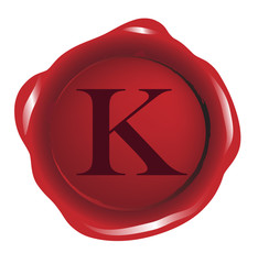 Red seal wax with alphabet letter K vector