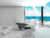 Fototapety White bedroom interior in a maritime style and sea view